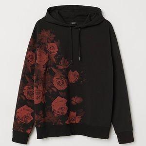Black Hoodie With Red Roses